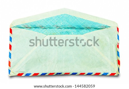 The Open envelope of backside isolated on white background - stock photo