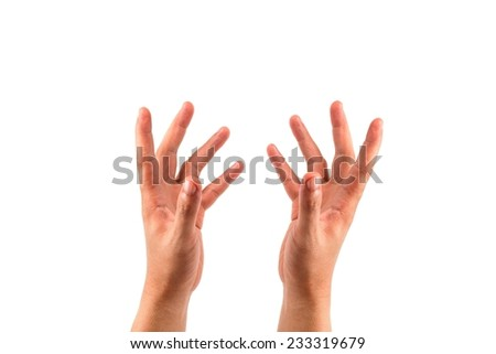 the open hands of a man as showing or holding something  isolated on white - stock photo