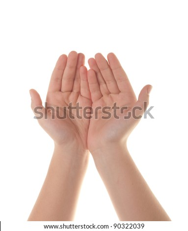 The open hands of a young woman - stock photo