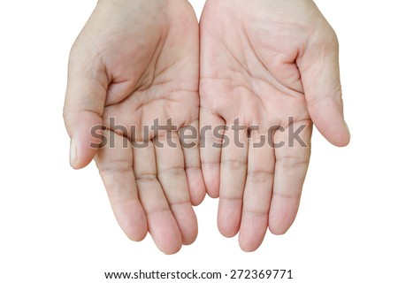 The open hands of woman isolated on white.