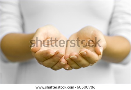 The open hands of woman. Your objects here - stock photo