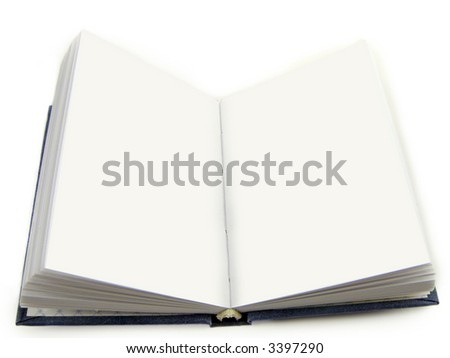 The open notebook isolated, on a white background.