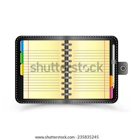 The open organizer with pen and top view shadow on the white background - stock photo