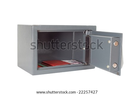 The open safe with documents on a white background - stock photo