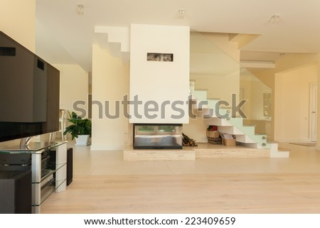 The open-space house from the inside, horizontal - stock photo