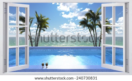 The open window overlooking the pool - stock photo