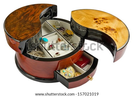 The open wooden Jewel Box in the Chinese style is made of polished mahogany and varnished. Isolated with patch - stock photo