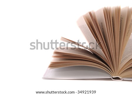 The opened book with uncombed pages and the text on them - stock photo