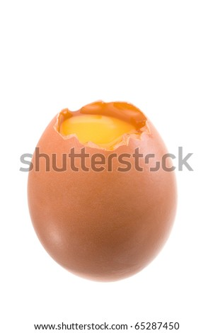 The opened chicken egg, is isolated on a white background