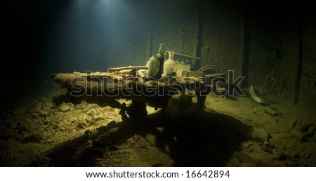 The operating table in the sick bay of the Shinkoku Maru, a Japanese cargo ship sunk during World War II. - stock photo