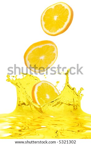 The orange falls in own juice - stock photo