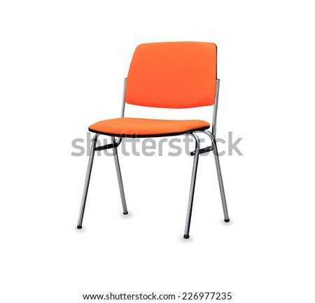 The orange office chair. Isolated - stock photo