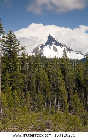 The Oregon High Cascade has Multiple Peaks over 9,000 square feet - stock photo