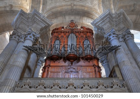 The organ from Cadiz cathedral, a Roman Catholic church in southern Spain, built between 1722 and 1838. - stock photo