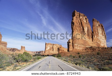 The Organ rock formation in Arches National Park - stock photo
