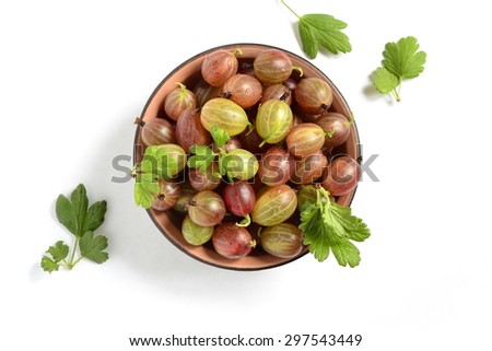 The organic gooseberries in a bowl, top view - stock photo