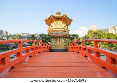 The oriental pavilion of absolute perfection in Nan Lian Garden, Chi Lin Nunnery, Hong Kong - stock photo