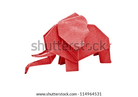 The origami elephant asian recycle red paper, Isolated on white. - stock photo