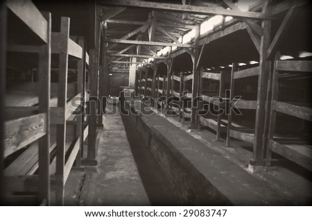 The original barrack. Old style photo of the jewish barrack in Auschwitz - stock photo