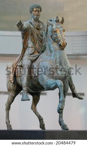 The original bronze statue of Emperor Marcus Aurelius, created in 176 AD, in the Rome Capitoline Museum. - stock photo