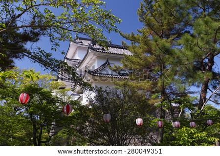 "The original Ninja castle of Iga Ueno also known as ""Hakuho"" or ""White Phoenix Castle - stock photo"