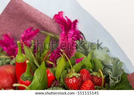 The original unusual edible bouquet of vegetables and fruits, closeup