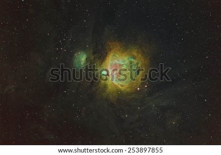 The Orion Nebula Imaged in Narrow Band and Converted to Color - stock photo