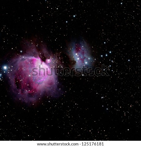 The Orion Nebula, M42 in the constellation Orion - stock photo