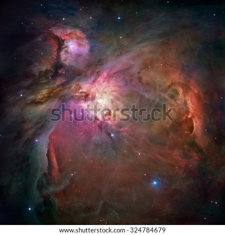 The Orion Nebula (Messier 42, M42, or NGC 1976) is a diffuse nebula situated in the Milky Way, in the constellation of Orion. Retouched image. Elements of this image furnished by NASA. - stock photo