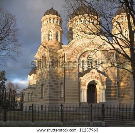 The Orthodox Church in Riga, Latvia - stock photo
