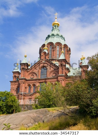 The Orthodox Uspenski Cathedral in Helsinki, Finland - stock photo