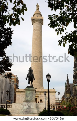 "The ""other"" Washington Monument located in downtown Baltimore Maryland - stock photo"