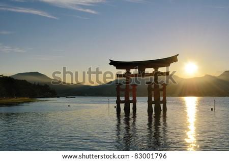 The otori gate which welcomes visitors to Miyajima, Japan. - stock photo