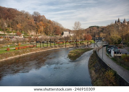 The Ourthe River in Durbuy - stock photo