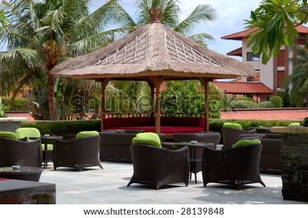 The outdoor coffee bar at resort - stock photo