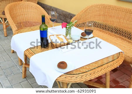 the outdoor lunch at resort - stock photo