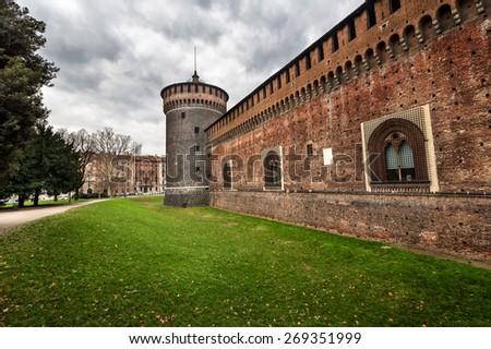 The Outer Wall of Castello Sforzesco (Sforza Castle) in Milan, Italy - stock photo