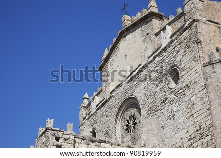 The outside look of an medieval cathedral in Erice, Sicily. - stock photo