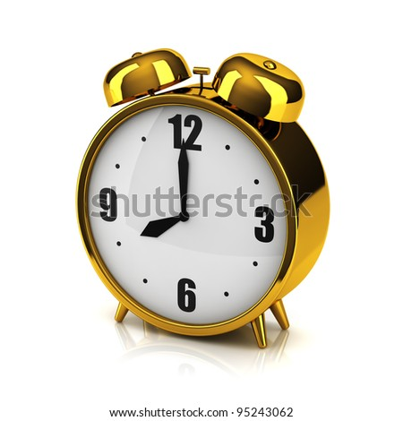 The overgilded alarm clock on a white backdrop