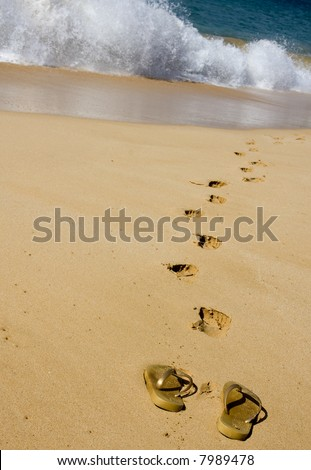 The owner of these flip flops left them behind to walk barefoot across golden sand towards the surf.