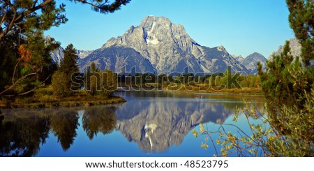 The Oxbow Bend of the Snake River and Mt. Moran in Grand Teton National Park, Wyoming. - stock photo