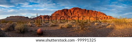 The oxidized rock formations of Valley of Fire State Park, Nevada. - stock photo