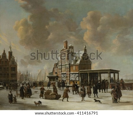 The Paalhuis and Nieuwe Brug, Amsterdam, in Winter, by Jan Beerstraten, 1640-66, Dutch oil painting. The Post House and the New Bridge in Amsterdam in winter, seen from the Damrak - stock photo