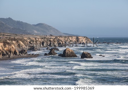 The Pacific Ocean has worn Northern California's coastline into spectacular scenery. Highway 1 is built along the coast, allowing drivers to view some of North America's most impressive vistas. - stock photo
