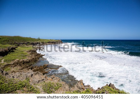 The Pacific Ocean View from a hill. Natural breakwater.