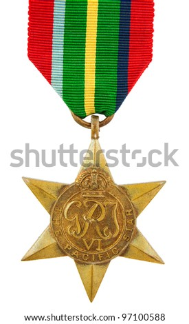 The Pacific Star Second World War Medal - stock photo