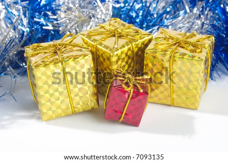 The packed gifts. Close-up view - stock photo