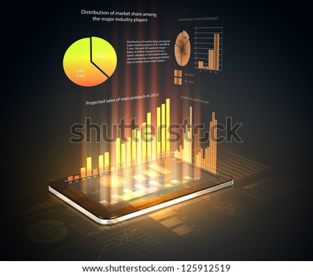 The Pad and three-dimensional graphics on gray background . illustration - stock photo