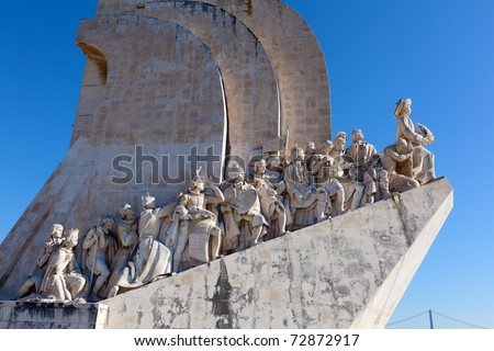 The Padrao dos Descobrimentos (Monument to the Discoveries) celebrates the Portuguese who took part in the Age of Discovery. It is located in the Belem district of Lisbon, Portugal - stock photo