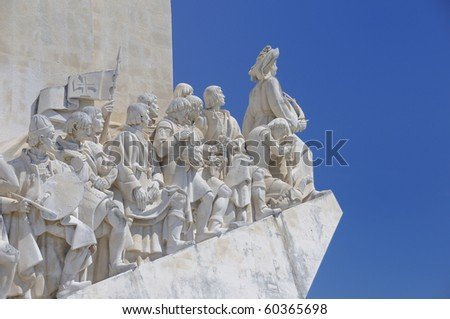The Padrao dos Descobrimentos (Monument to the Discoveries). It is located in the Belem district of Lisbon, Portugal - stock photo